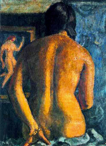 Indian Art - Amrita Sher-Gil - Self Portrait Nude by Amrita Sher-Gil