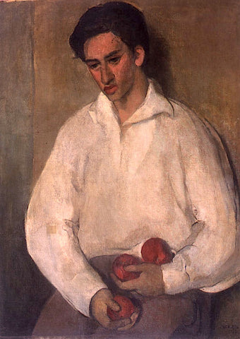 Indian Art - Amrita Sher-Gil - Young Man With Apples