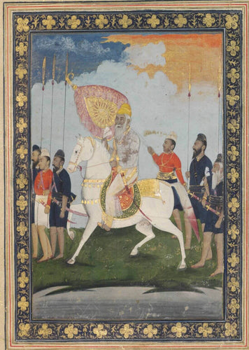 Artwork of An Equestrian Portrait Of Maharaja Ranjit Singh - Vintage Indian Miniature Art Sikh Painting by Akal