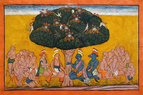 Angada's Despair - Kulu School - c1700 - Indian Miniature Painting From Ramayan - Vintage Indian Art