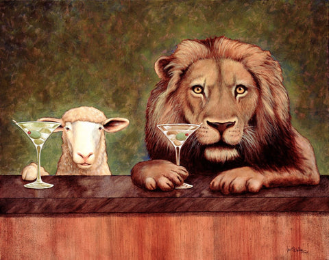 The Lamb And The Lion Enjoying Together by Deepak Tomar