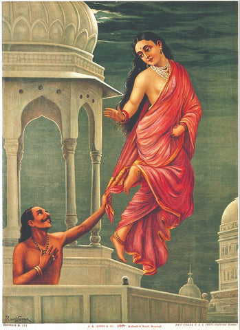 Apsara (Celestial Nymph) Urvashi and King Pururavas - Raja Ravi Varma Chromolithograph Print - Indian Masters Painting