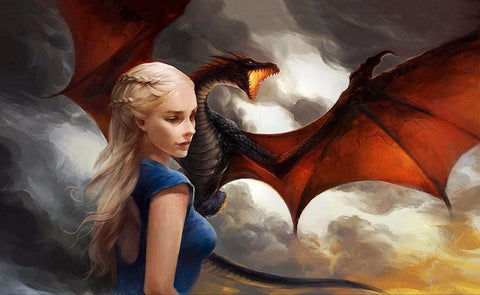 Art From Game Of Thrones - Mother Of Dragons - Daenerys Targaryen And Drogon - Posters by Hamid Raza