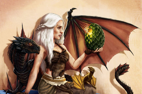 Art From Game Of Thrones - Mother Of Dragons - Daenerys Targaryen With Drogon