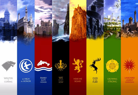 Art From Game Of Thrones - Sigils Of The 8 Kingdoms Of Westeros