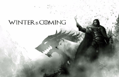 Art From Game Of Thrones - Winter Is Coming - Jon Snow And Ghost