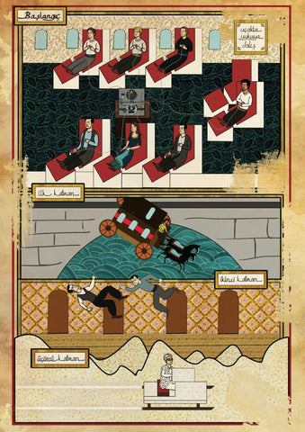 Art Movie Poster - Inception - Vintage Ottoman Miniature Style- Tallenge Hollywood Poster Collection by Tallenge Store