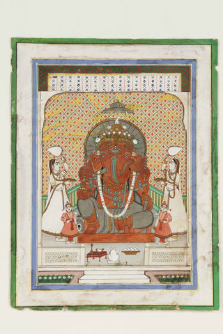 Indian Miniature Art - Rajasthani Painting - Lord Ganesha by Angele Hammonds