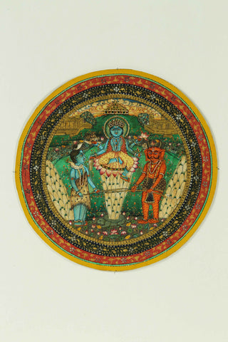 Indian Miniature Art - Mahavishnu And Lord Shiva by Angele Hammonds