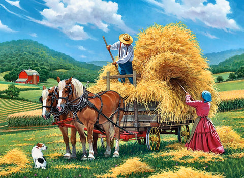 Artwork of a Hay Farm