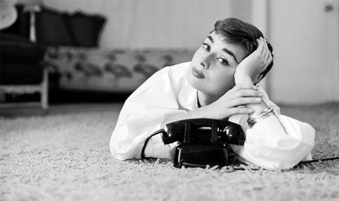 Audrey Hepburn - Telephone Photoshoot - Tallenge Hollywood Poster Collection