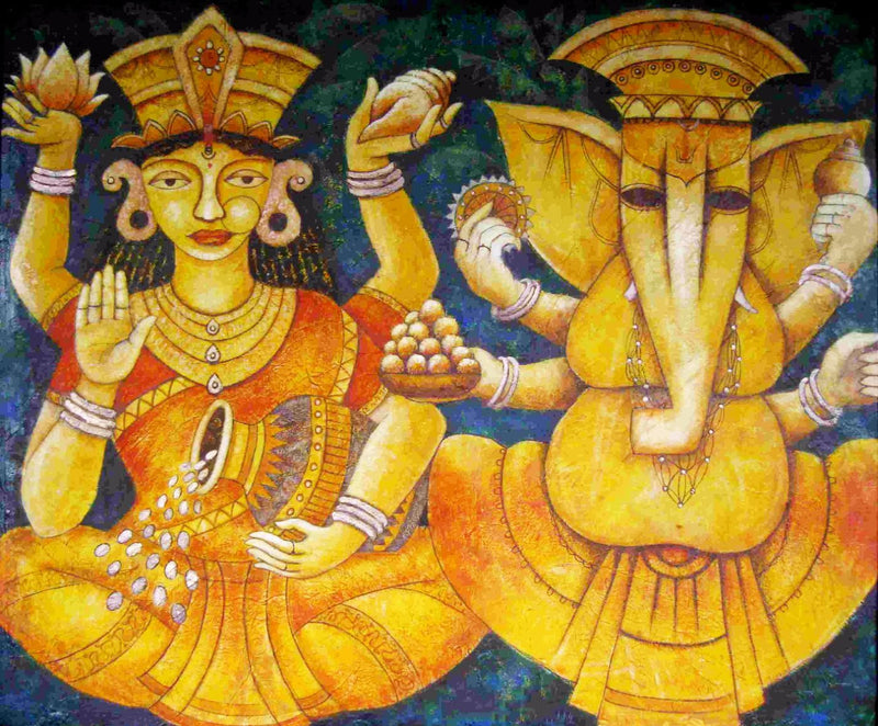 Auspicious Lakshmi Ganesha - Ganesha Painting Collection - Diwali Puja