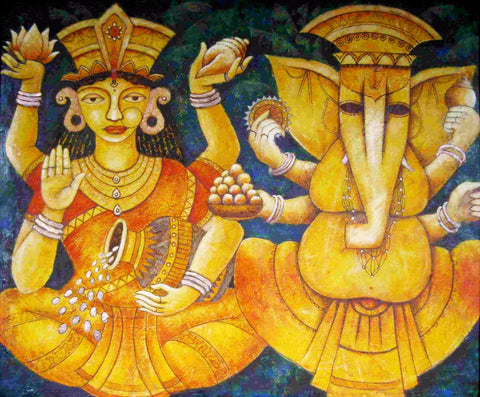 Auspicious Lakshmi Ganesha - Ganesha Painting Collection - Diwali Puja by Raghuraman
