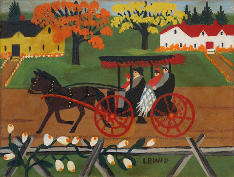 Autmun Carriage Ride - Maud Lewis - Folk Art Painting - Posters by Maud Lewis