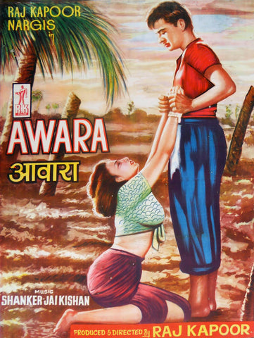Awara - Raj Kapoor Nargis - Vintage Hindi Movie Poster