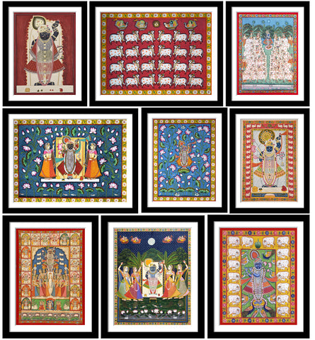 Set of 10 Best of Pichhwai  Paintings - Framed Poster Paper (12 x 17 inches) each