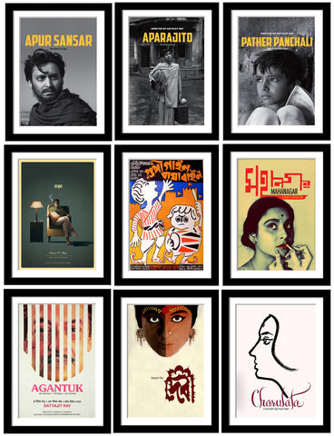 Set of 10 Best of Satyajit Ray Paintings - Framed Poster Paper (12 x 17 inches) each