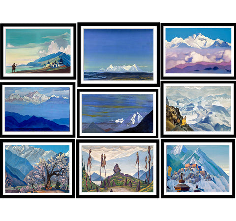 Set of 10 Best of Nicholas Roerich Paintings - Framed Poster Paper (12 x 17 inches) each