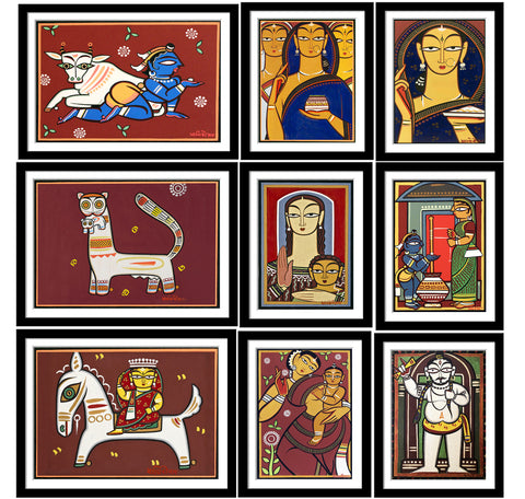 Set of 10 Best of Jamini Roy Paintings - Framed Poster Paper (12 x 17 inches) each