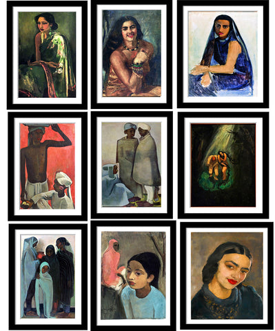 Set of 10 Best of Amrita Sher-Gil Paintings - Framed Poster Paper (12 x 17 inches) each
