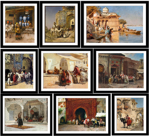 Set of 10 Best of Edwin Lord Weeks Paintings - Framed Poster Paper (12 x 17 inches) each