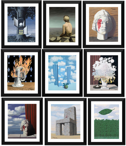 Set of 10 Best of René Magritte Paintings - Framed Poster Paper (12 x 17 inches) each