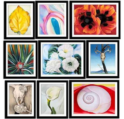 Set of 10 Best of Georgia OKeeffe Paintings - Framed Poster Paper (12 x 17 inches) each