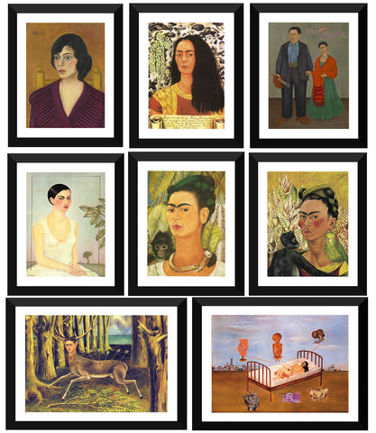 Set of 10 Best of Frida Kahlo Paintings - Framed Poster Paper (12 x 17 inches) each by Frida Kahlo
