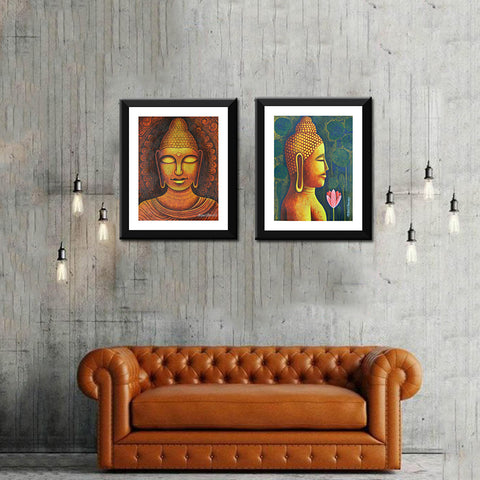 Buddha Contemporary Art - Set Of 2 Premium Quality Framed Digital Print ( 9 x 12 inches) each
