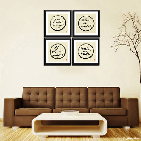 Buddha - Thich Nhat Hanh - Mindfulness - Set Of 4 Framed Digital Print With Matte And Glass (18 x 18 inches) each