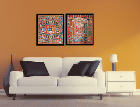 Buddha Mandala And Thangka - Set Of 2 Premium Quality Framed Art Print (11 x 12 inches) each