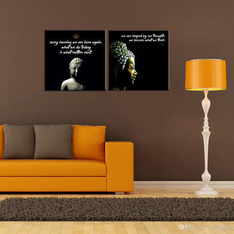Buddha Quotes And Teachings - Set Of 2 Ready To Hang Gallery-Wrapped Canvas Prints (18 x 18 inches) each