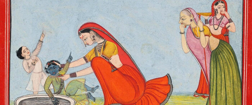 Baby Krishna Plays With His Mother Yashodha - Pahari School circa 1800 - Indian Vintage Miniature Painting by Jai | Buy Posters, Frames, Canvas  & Digital Art Prints