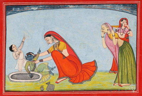 Baby Krishna Plays With His Mother Yashodha - Pahari School circa 1800 - Indian Vintage Miniature Painting