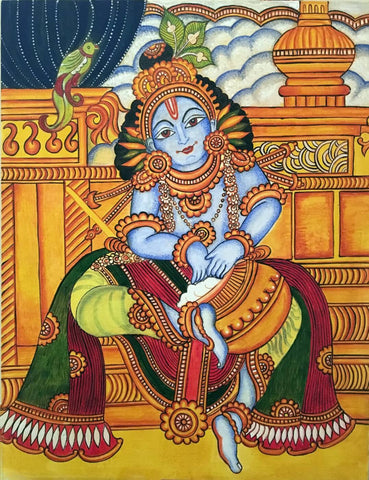 Bal Gopala Krishna Enjoying Butter - Kerala Mural Painting