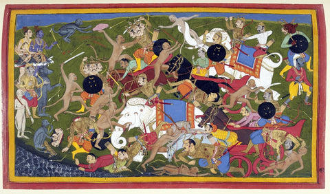 Indian Miniature Art - Ramayana - Battle At Lanka