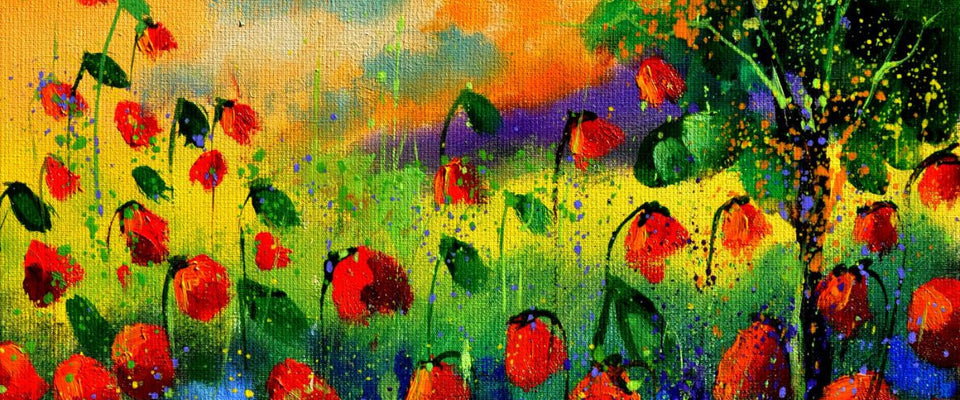 Beautiful Red Flower Garden by Michael Pierre | Buy Posters, Frames, Canvas  & Digital Art Prints