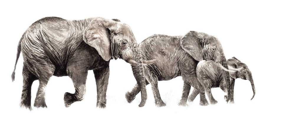 Beautiful Elephant Family - Painting Poster by Sina Irani | Buy Posters, Frames, Canvas  & Digital Art Prints