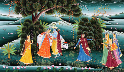 Beautiful Krishna Adorns His Beloved Radha - Framed Prints