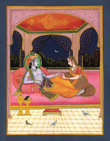 Beautiful Radha Krishna  - Indian Painting by Anonymous Artist