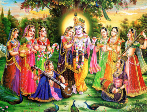 Beautiful Radha and Krishna and the Eight Chief Gopis by Raghuraman