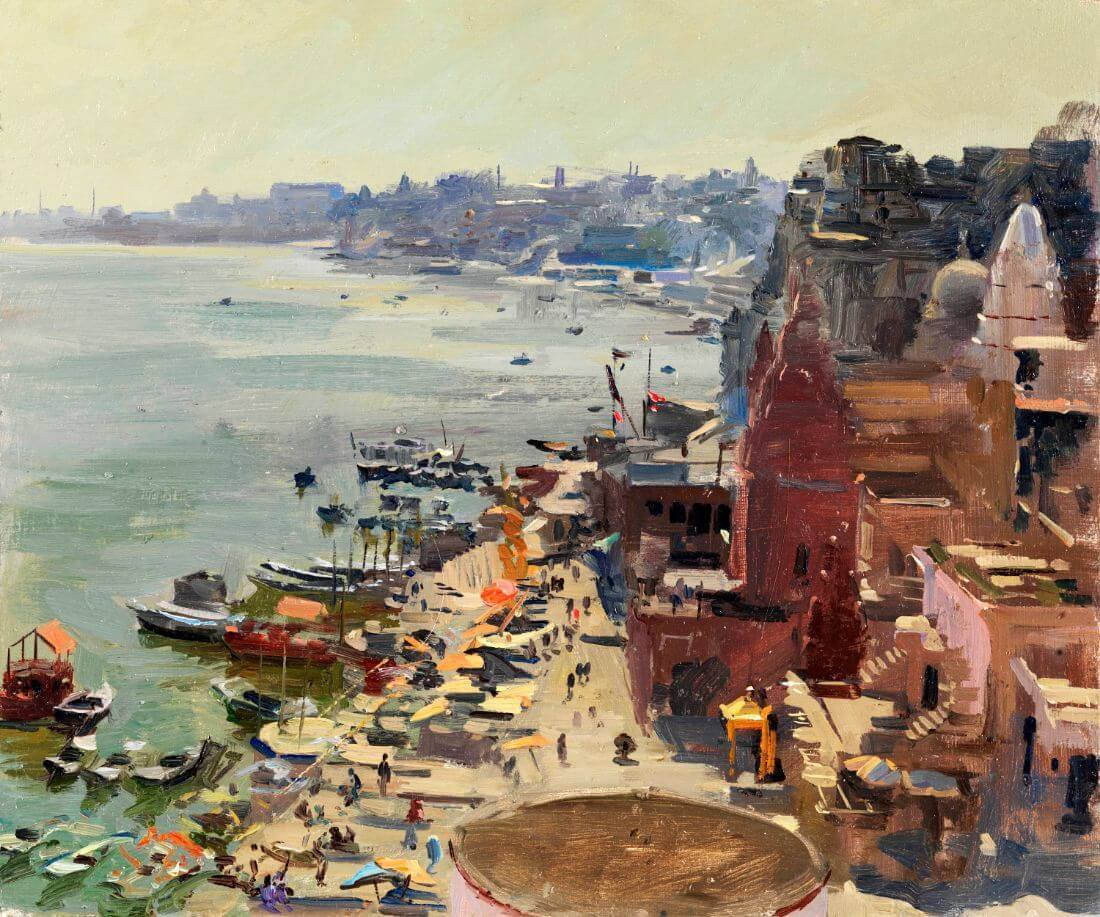 Benaras From The Rooftop   Painting Of The Holy City of Varanasi India    Large Art Prints