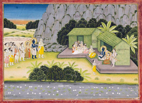 Bharadwaja with Rama, Sita and Lakshmana - Rajput Painting - Jaipur - 19 Century Vintage Indian Miniature Art from the Adhyatam Ramayana