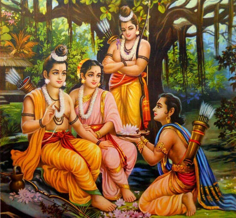 Bharat Comes To Forest And Takes Lord Rama Sandals - Ramayan - Vintage Indian Art by Kritanta Vala
