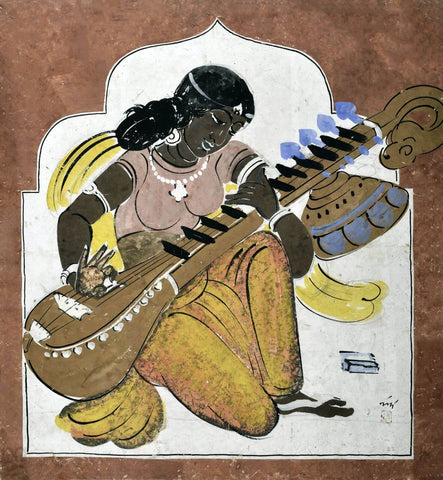 Bina Badini - Nandalal Bose - Haripura Panels - Bengal School Indian Art by Nandalal Bose