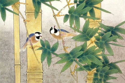 Birds In A Bamboo Grove - Watercolor Painting - Bird Wildlife Art Print Poster