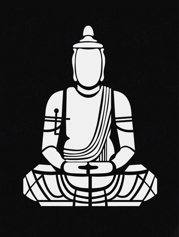 Black and white buddha art posters