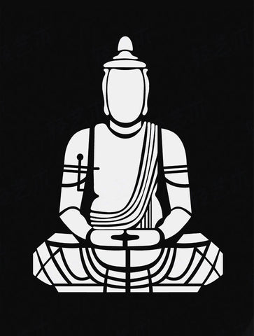 Black And White Buddha Art by Sina Irani
