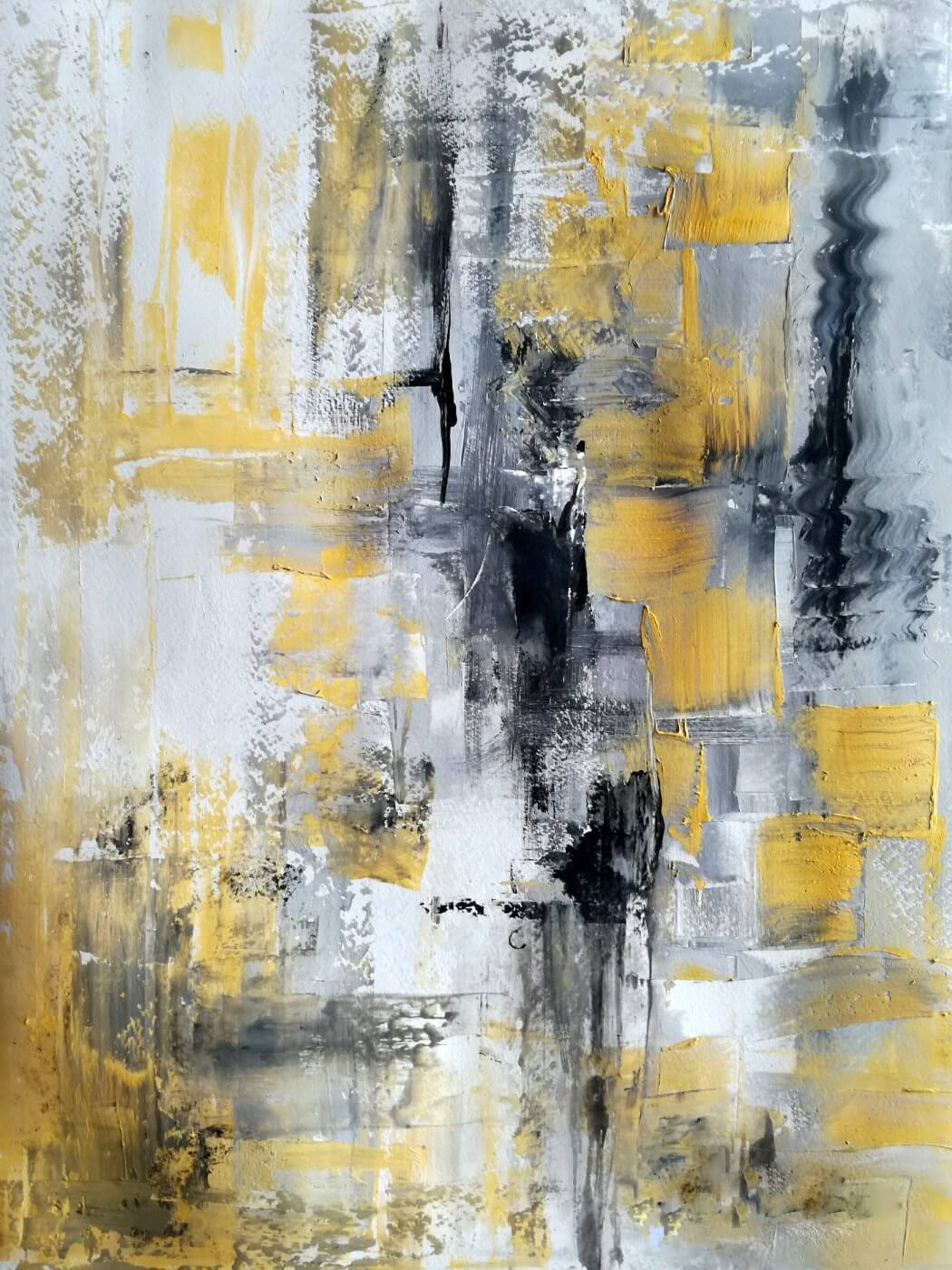 Black White And Yellow - Contemporary Abstract Art ... Yellow Black Abstract Paintings