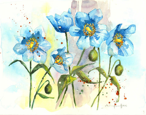Blue Poppies - Posters by Sina Irani